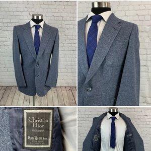 Christian Dior Monsieur Mint Wool Tweed 42r Blazer